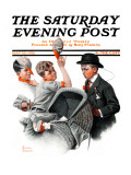 """""""Baby Carriage"""" Saturday Evening Post Cover  May 20 1916"""