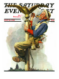 """Gilding the Eagle"" or ""Painting the Flagpole"" Saturday Evening Post Cover  May 26 1928"