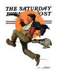 """""""Fleeing Hobo"""" Saturday Evening Post Cover  August 18 1928"""
