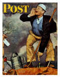 """First Flower"" or ""First Crocus"" Saturday Evening Post Cover  March 22 1947"