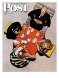 """Bridge Game"" or ""Playing Cards"" Saturday Evening Post Cover  May 15 1948"