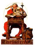 """""""Santa at His Desk"""", December 21,1935 Giclée par Norman Rockwell"""