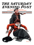 """""""Skating Lesson"""" Saturday Evening Post Cover  February 7 1920"""
