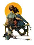 """Little Spooners"" or ""Sunset"", April 24,1926 Giclée par Norman Rockwell"