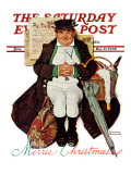 """""""Merrie Christmas"""" or Muggleston Coach Saturday Evening Post Cover  December 17 1938"""