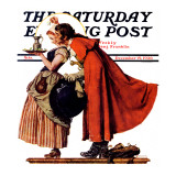 """""""Mistletoe Kiss"""" or """"Feast for a Traveler"""" Saturday Evening Post Cover  December 19 1936"""