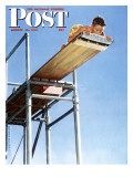 """Boy on High Dive"" Saturday Evening Post Cover  August 16 1947"