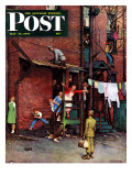 """""""Homecoming G.I."""" Saturday Evening Post Cover, May 26,1945 Giclée par Norman Rockwell"""