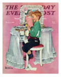 """Boy Reading his Sister's Diary"" Saturday Evening Post Cover  March 21 1942"