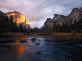 Evening Sun Lights Up El Capitan and the Merced River