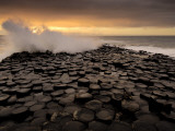Surf Crashes onto the  Giant's Causeway Rocks