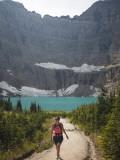 Girl Enjoys a Hike to Iceberg Lake Trail in Glacier Np  Mt