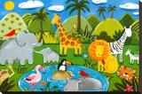 Les animaux de la jungle Tableau sur toile par Sophie Harding