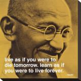Gandhi: vivre et apprendre, en anglais Tableau sur toile