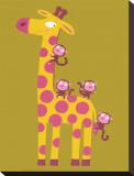 La girafe et les singes Tableau sur toile par Nathalie Choux