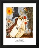 Les Fiancees de la Tour Eiffel Reproduction laminée et encadrée par Marc Chagall