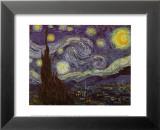La nuit étoilée, vers 1889 Reproduction laminée et encadrée par Vincent Van Gogh