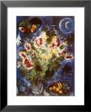 Nature morte aux fleurs Reproduction laminée et encadrée par Marc Chagall