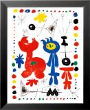 Personnage et Oiseaux Reproduction laminée et encadrée par Joan Miró
