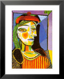 Girl with Red Beret Reproduction laminée et encadrée par Pablo Picasso
