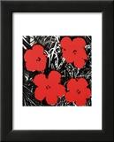 Flowers, c.1964 (Red) Reproduction laminée et encadrée par Andy Warhol