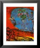 Couple d'amoureux sur fond rouge Reproduction laminée et encadrée par Marc Chagall