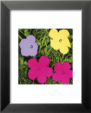Fleurs, vers 1970 (1 violette, 1 jaune, 2 roses) Reproduction laminée et encadrée par Andy Warhol