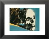Skull, c.1976 (yellow on teal) Reproduction laminée et encadrée par Andy Warhol