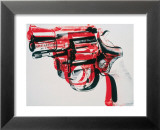 Pistolet, vers 1981-82 (noir et rouge sur blanc) Reproduction laminée et encadrée par Andy Warhol