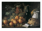 Still Life with a Bottle  Ceramics  Bread  Apples and Grapes