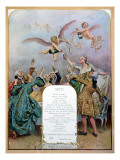 Ritz Restaurant Menu  Depicting a Group of Elegant 18th Century Men and Women Drinking Champagne