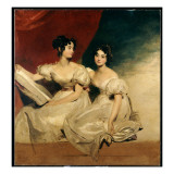 A Double Portrait of the Fullerton Sisters  Seated Full Length  in White Dresses  C1825