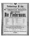 Poster Advertising 'Die Fledermaus' by Johann Strauss the Younger  for a Performance