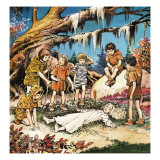 The Lost Boys' Concern for Injured Wendy  Illustration from 'Peter Pan' by JM Barrie