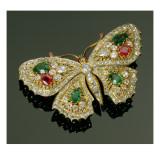 Late Victorian Multi-Gem Set Butterfly Brooch  C1880