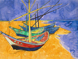 Fishing Boats on the Beach at Saintes-Maries-De-La-Mer Reproduction d'art par Vincent Van Gogh