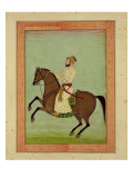 A Mughal Noble on Horseback  C1790  from the Large Clive Album