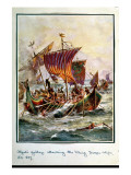 Alfred's Galleys Attacking the Viking Dragon Ships  897 Ad