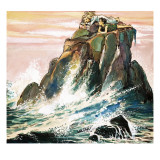 Peter Pan and Wendy Darling on a Rock  Illustration from 'Peter Pan' by JM Barrie