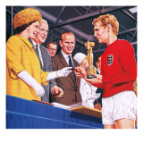 Bobby Moore Collecting the Football World Cup Trophy in 1966