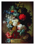 Still Life  Flowers and Bird's Nest
