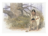Sacagawea and Her Son are Kneeling Down  Looking at a Large Frog or Toad
