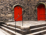 Bright Red Doors of Historic Chapel in Chelsea