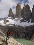 Torres Del Paine with Hiker in Foreground