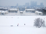 Maritime Museum  Royal Naval College and Canary Wharf Covered in Snow  from Greenwich Park