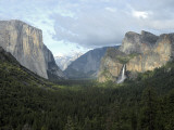 El Capitan (Left)  Cloud's Rest in the Clouds  Half Dome and Cathedral Peaks