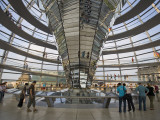 Visitors Inside Glass Dome on Top of Parliamentary Building  the Reichstag  Mitte