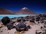 Volcan Licancabor Rising Beyond Lake Verde  Kept Unfrozen at High Altitude by Alkali Salts