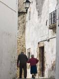 Rear View of Old Couple Walking in Street