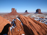 Buttes Towering Above Snowy Desert Floor of Monument Valley
